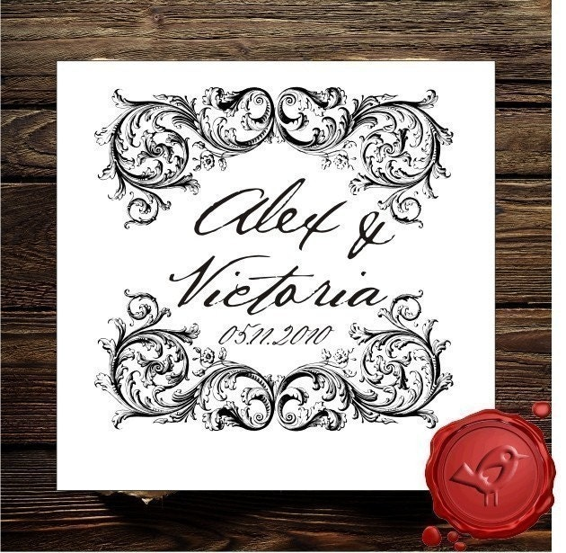 vintage design save the date custom rubber stamp wedding