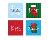 EDITABLE digital collage sheet - Christmas snowflakes 4 x 6 inch sheet - 1 inch squares - type in the names of your choice