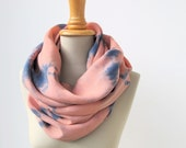 tiedyed scarf - infinity loop in peach and blue like silk - handdyed