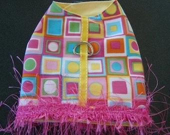 Handmade Small Dog Vest Coat Jacket Pink Aqua Yellow
