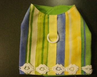 Handmade Extra Small Dog Coat Vest Jacket Yellow Blue Green Flowers