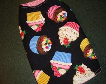 Handmade Extra Small Dog Coat Vest Jacket Red Birthday Summer Pink Cupcakes Flowers Black