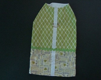Handmade Dog Coat Jacket Green Ric Rack White Medium Frogs