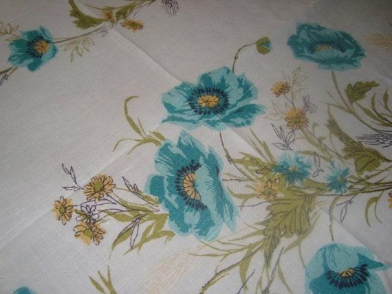 Vintage Tablecloth 50x66 Aqua Green Yellow Linen 1960