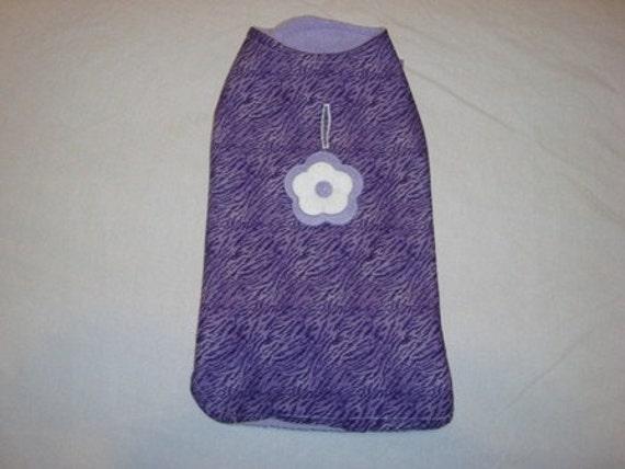 Small Dog Coat Jacket Purple Animal Print Fleece Handmade Reversible Clothing