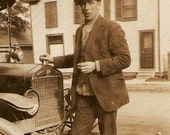 Young Man In Hat With Old Car Photo - Dapper Hugh Mowbray And His Wheels Ontario Estate