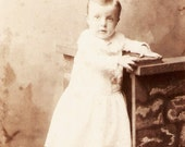 Little Boy In White Dress With Scalloped Hem Cabinet Card Photo Rochester New York - Wonderful Graphics On Back