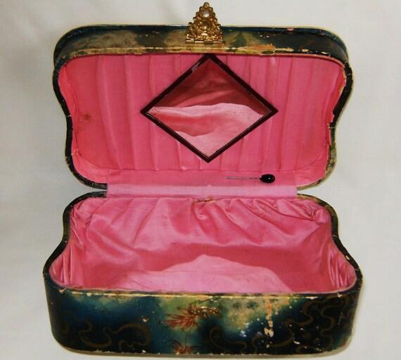 Vanity Box From Miladys Boudoir - Antique Victorian Pastoral Scene With Diamond Mirror