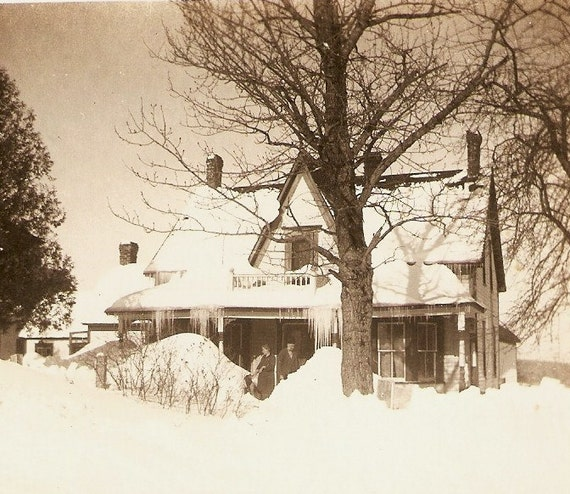 Lady And Gentleman Shovelling Snow Around Snow And Ice Covered Farm House Vintage Photo - It Was A Blizzard
