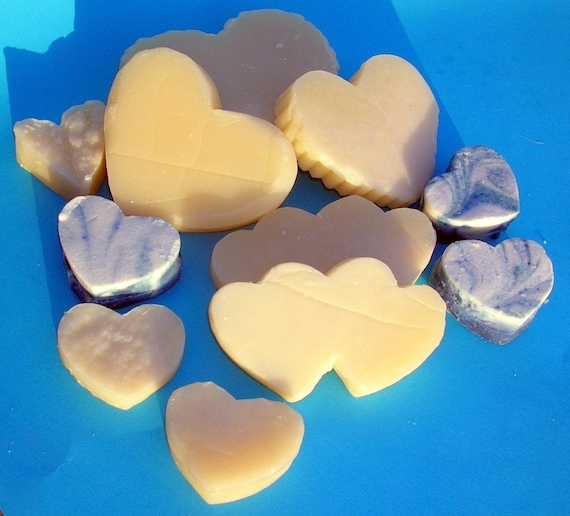 Handmade Soaps, Shower Them with Hearts, Gift Bag of Handcrafted Luxurious Heart Soaps in Plumeria and Blue Pacific Ocean Waves Scents