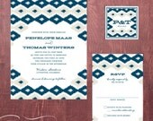 Ikat Printable Wedding Invitation, DIY print at home invite - Entwine