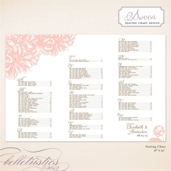 Printable Seating Chart For Wedding Reception: Unavailable Listing On Etsy