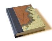 Grey & Brown Vintage Map Journal - 4.5 x 6.5 inches