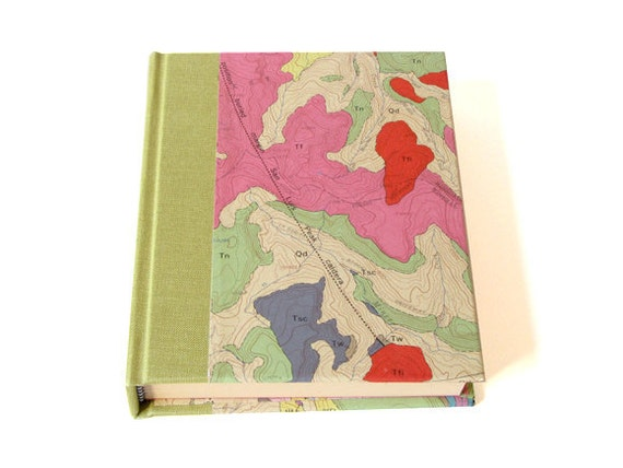 Pink & Green Vintage Map Journal - 4 x 5 inches