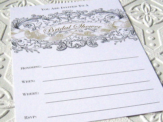 Bridal Shower Fill In Blank Invitations Set Vintage Illustration Grey ...