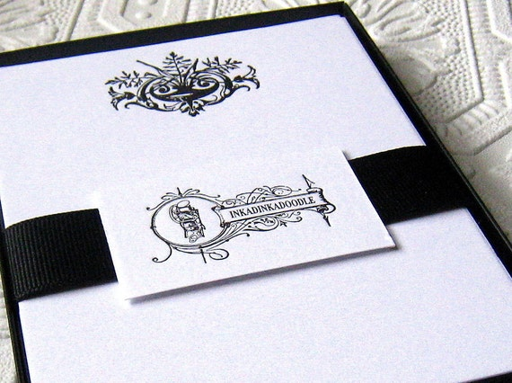 Letterpress Writing Vessel Boxed Note Cards Black and White