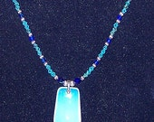 Gemstone and Swarovski Crystal Jewelry - Opalite Trapezoid Pendant Necklace