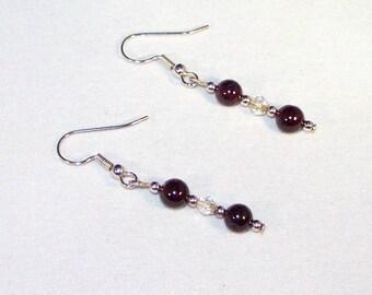 Garnet and Crystal Earrings