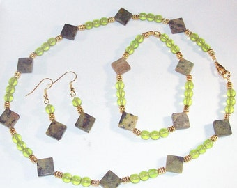 Gemstone and Crystal Jewelry - Golden Turquoise and Peridot Set