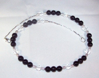 Black Agate and Swarovski Crystal Necklace