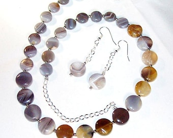 Gray Botswana Agate Coins Necklace and Earrings Set