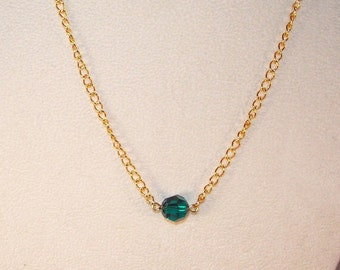 Emerald Swarovski Solitaire Necklace