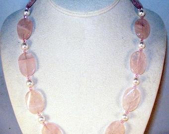 Rose Quartz and Swarovski Pearls 3 Piece Set