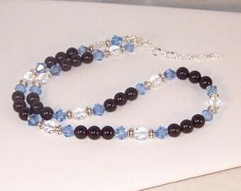 Black Onyx and Swarovski Crystal Necklace