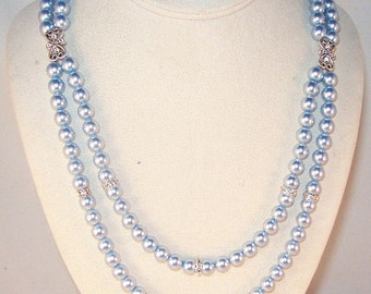Swarovski Pearl & Crystal Jewelry - Pearl Double Strand Necklace - Wedding Necklace - Any Color