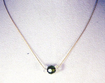 Peridot and Clear Swarovski Crystals Necklace - August Birthstone