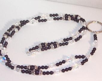 Gemstone and Swarovski Crystal Jewelry - Lanyard - Choose Your Gemstone - SHIPS WITHIN 24 HRS