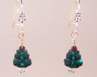 Swarovski Crystal Jewelry - Christmas Earrings - Crystal Tree