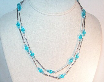 """Swarovski Crystal Jewelry - Crystal and Silver Link Necklace - 26"""" - Any Color Available - Made to Order - Birthstone"""