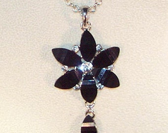 Large Black Glass and Rhinestone FlowerPendant Necklace