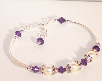 Swarovski Pearl & Crystal Bridal Jewelry - Bride/Bridesmaid Bracelet - Any Color - Shown in Purple Velvet