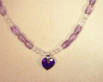 Gemstone & Swarovski Pearl and Crystal Jewelry - Amethyst, Swarovski Crystal, Swarovski Pearl, and Cubic Zirconia Heart