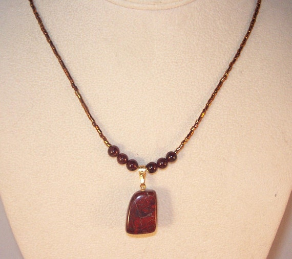 Tumbled Jasper and Garnet Necklace