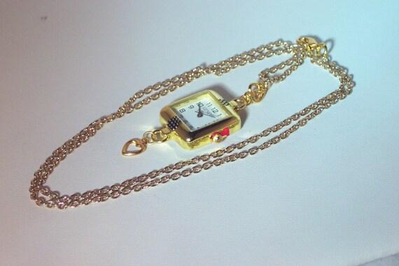 Interchangeable Watch Necklace - Gold Watch Necklace  with Watch - Interchangeable with Crystal Bands/Bracelets