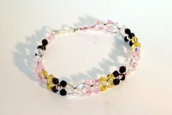 Swarovski Crystal Birthstone or Bridal Bracelet - 4 Color - Any Colors - Bride, Bridemaid, Maid of Honor, Flower Girl