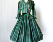 vintage 1950's dress ...gorgeous dior inspired GIGI YOUNG striped full skirt shirtwaist pin-up cocktail party dress