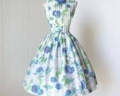 vintage 1950's dress ...pretty RICCI ORIGINALS blue floral garden pin-up summer party sun dress l xl