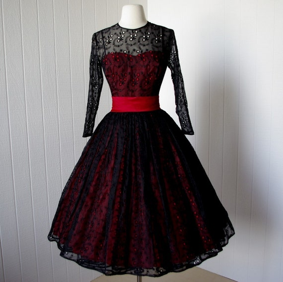 Vintage Wedding Dresses Nyc: Vintage 1950s Dress ...original Jr Theme New York Black