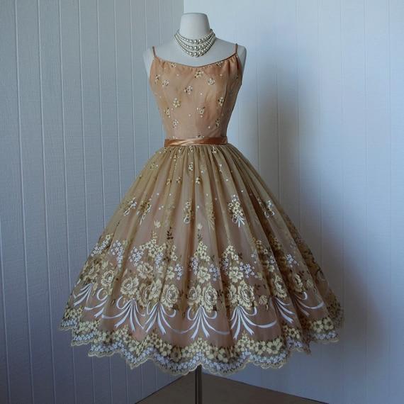 Vintage 1950's Dress ...gorgeous HAND PAINTED Floral