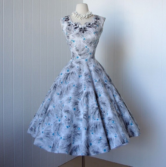 vintage 1950's dress  ..fabulous FLAIR OF MIAMI cotton full circle skirt pin-up dress with soutache and metal studs