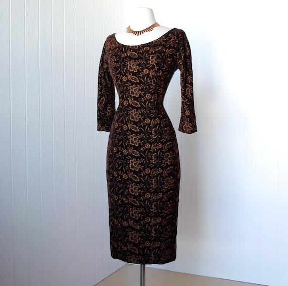 vintage 1950's dress ...vavavoom ALIX OF MIAMI metallic embroidered chocolate velvet bombshell wiggle cocktail dress