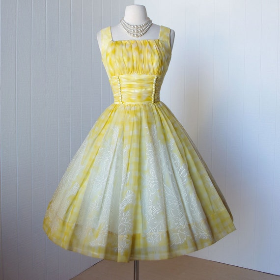 vintage 1950&-39-s dress ...fabulous yellow and white by traven7