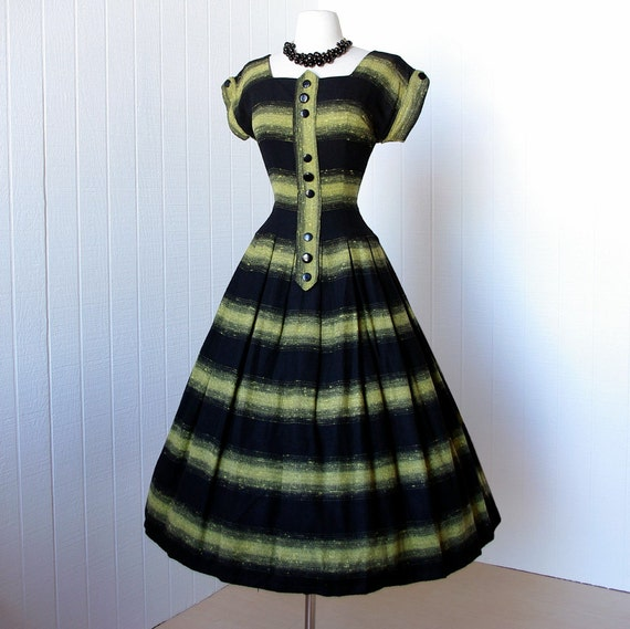 vintage 1950's dress ...most fabulous black and chartreuse gradient wool flannel full skirt rockabilly pin-up dress