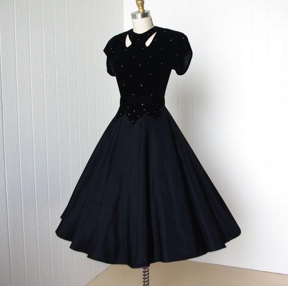 Vintage 1940 S Dress Classic Hollywood Glam Velvet And