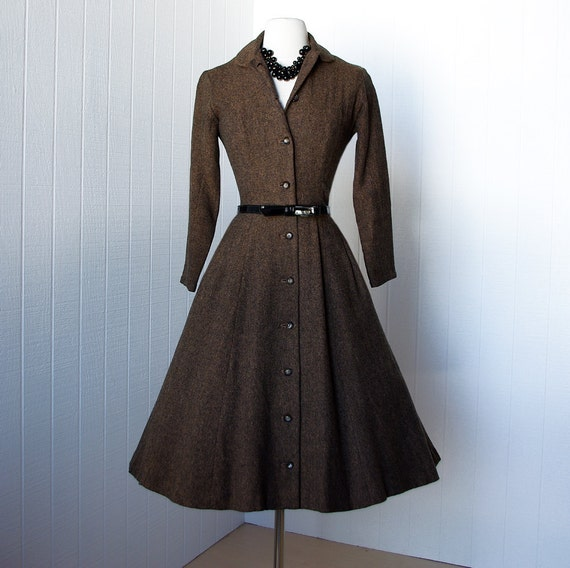 vintage 1950's dress ...classic wool tweed full skirt pin-up shirtwaist dress