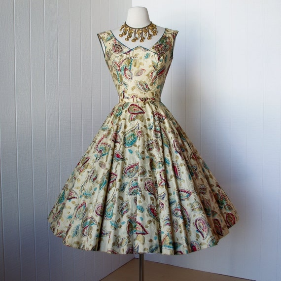 vintage 1950's dress ...most stunning hand painted cotton MEXICAN CIRCLE skirt dress with appliques rhinestones & beads